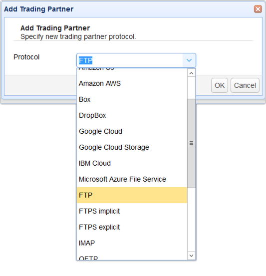 select ftps trading partner from drop down list