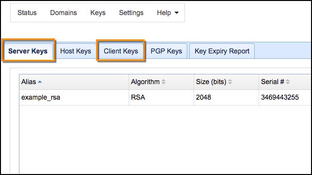 server keys client keys mft server
