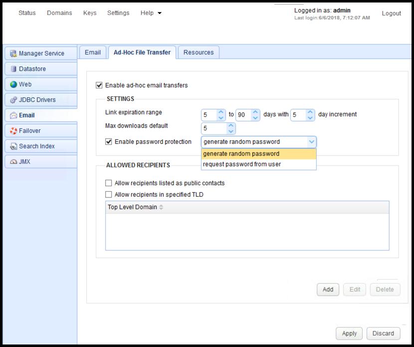 Password Protecting Ad-Hoc File Transfers