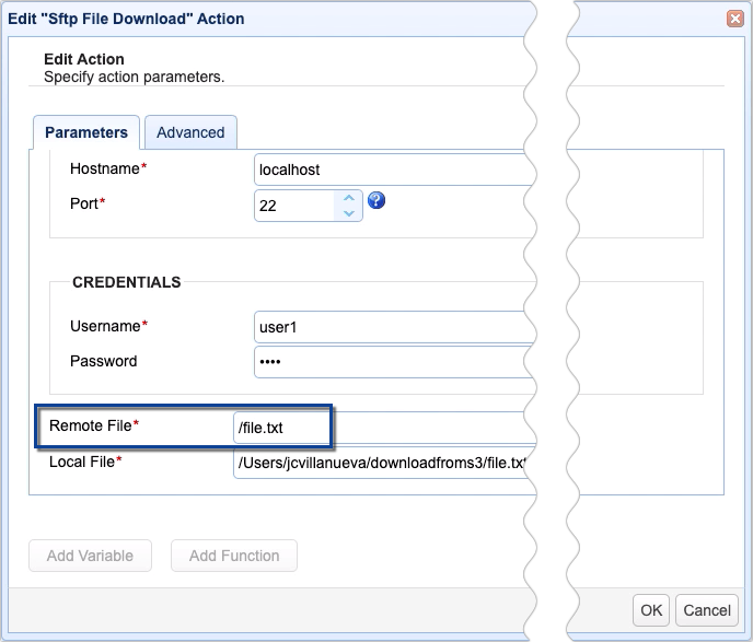 sftp file download action 2