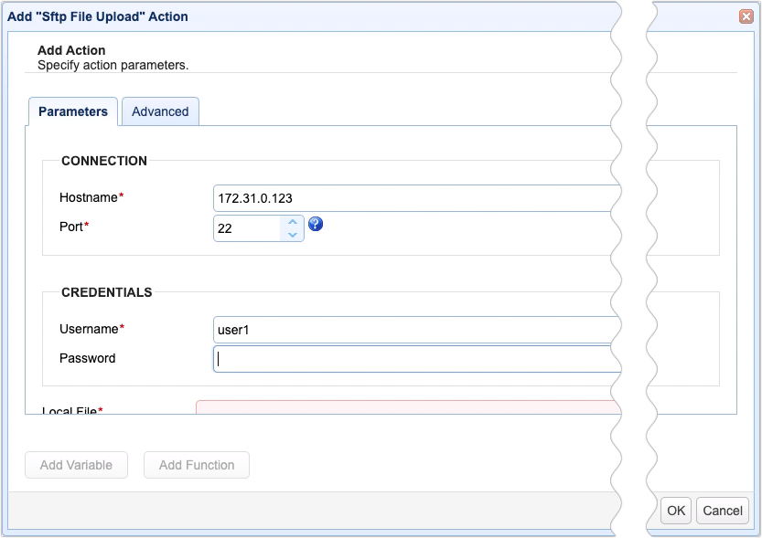 sftp file upload action parameters