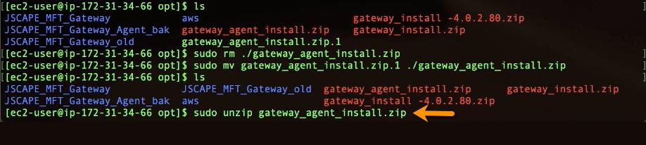 sudo unzip mft gateway agent zip installer-1