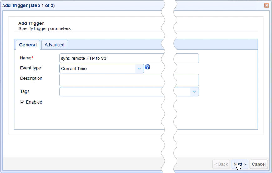 sync remote ftp to s3 - add trigger sync remote ftp to s3