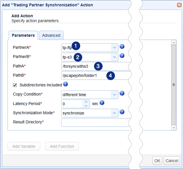 sync remote ftp to s3 - trading partner synchronization parameters 1