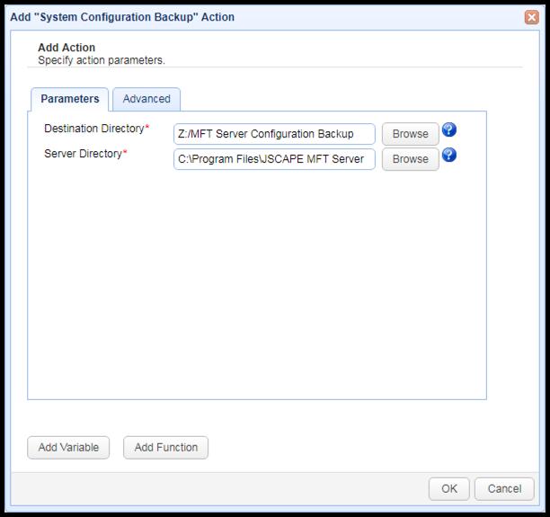 system configuration backup trigger action parameters