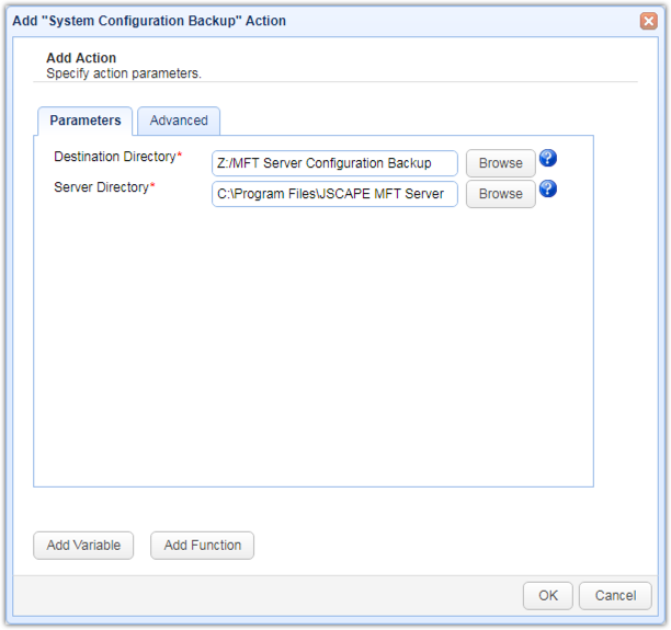 system configuration backup trigger action parameters