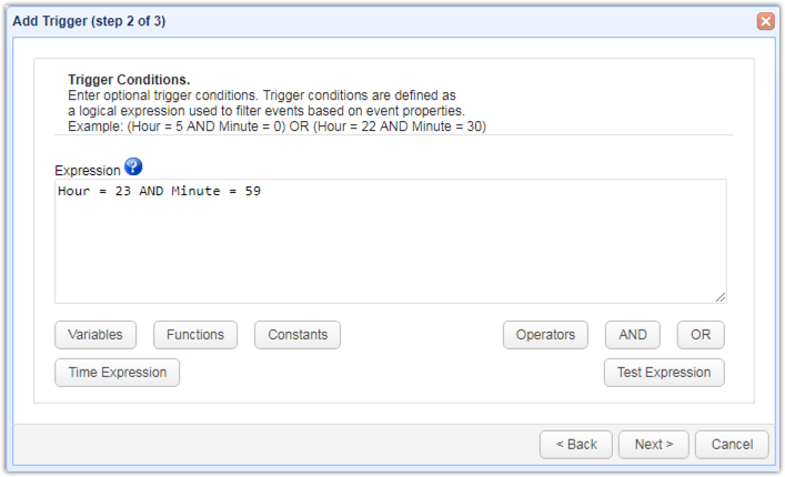 time trigger conditions server configuration backup