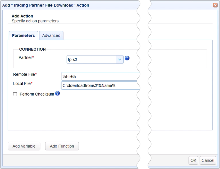 trading partner file download trigger action s3