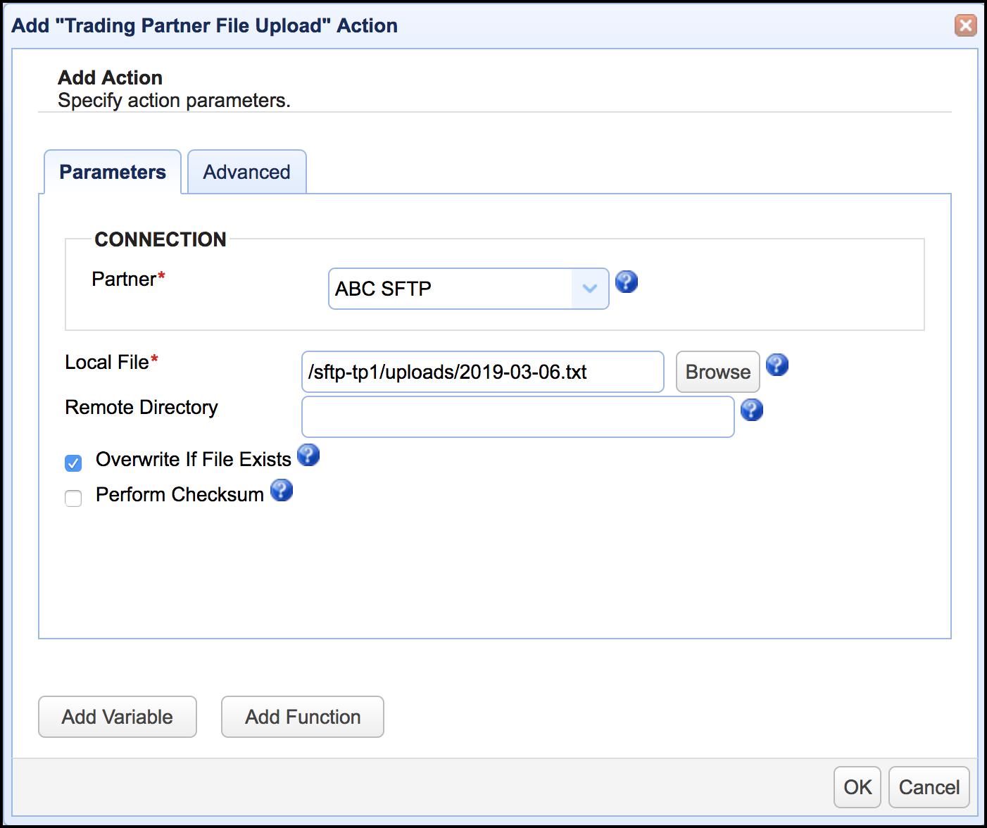 trading partner file upload action mft server 11-1