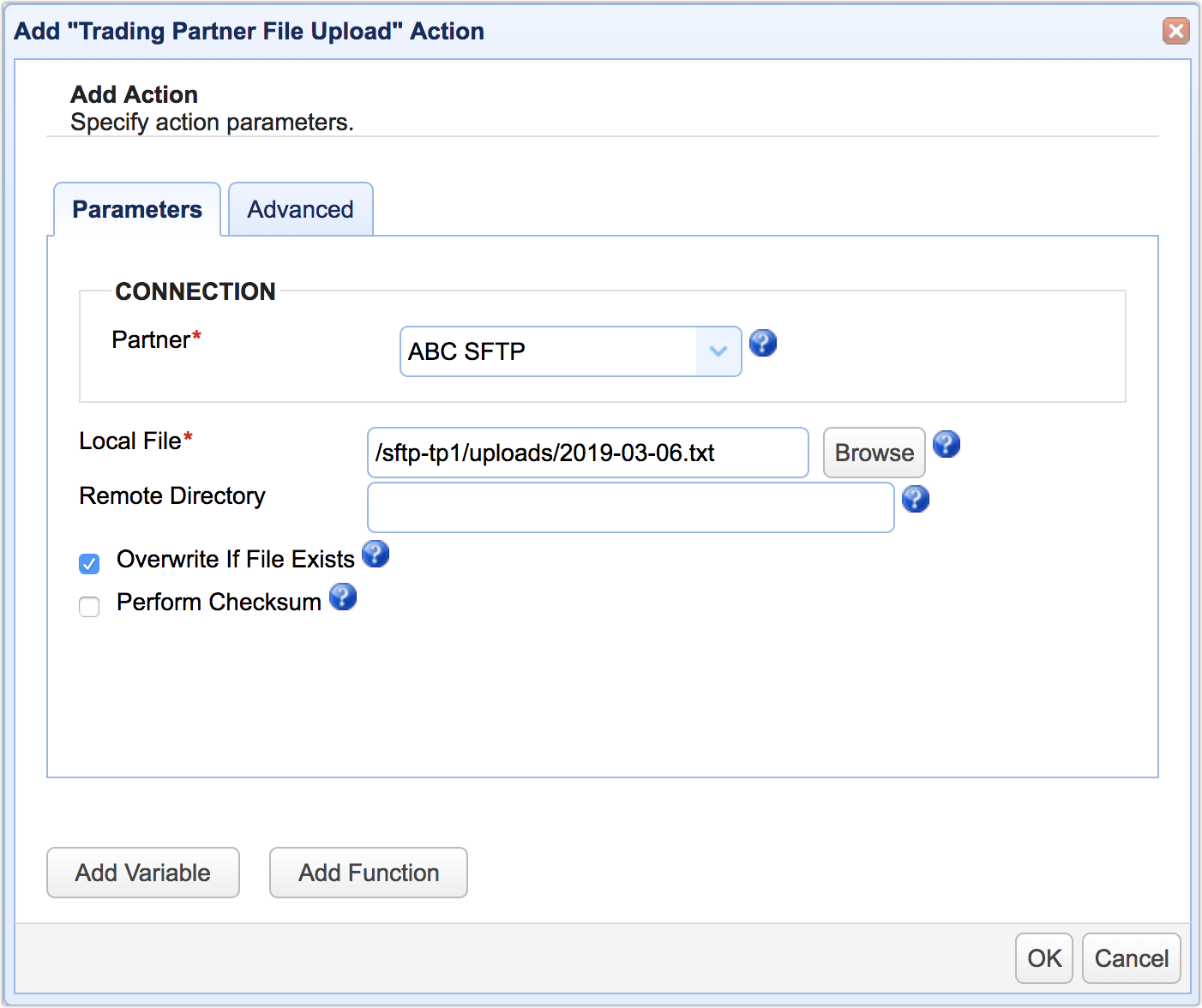 trading partner file upload action mft server 11-1
