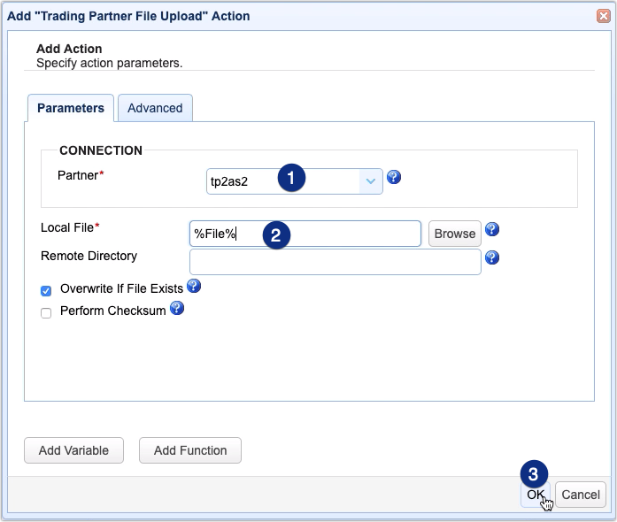 trading partner file upload action parameters for automated as2