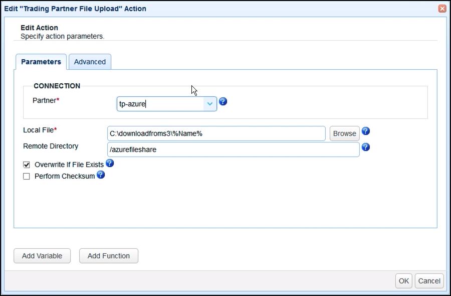 trading partner file upload action parameters
