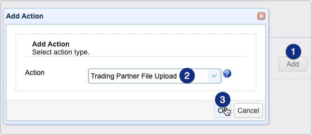 trading partner file upload trigger action for automated as2