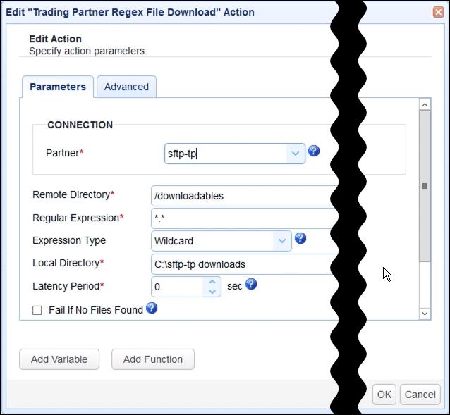 trading partner regex file download parameters