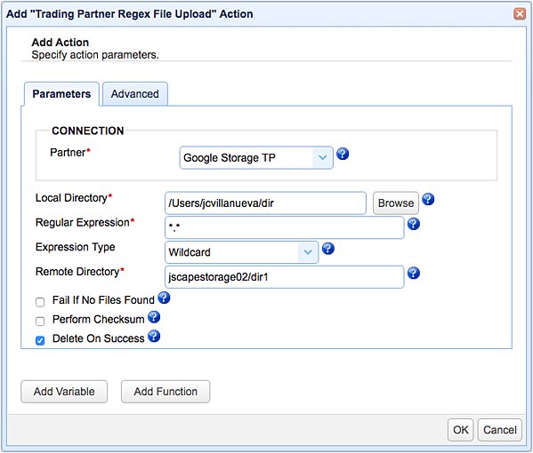 trading partner regex file upload parameters