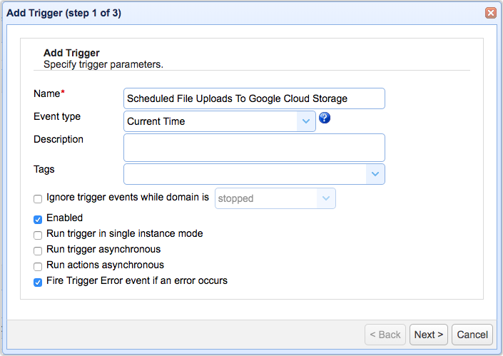 trigger event for upload to google cloud storage