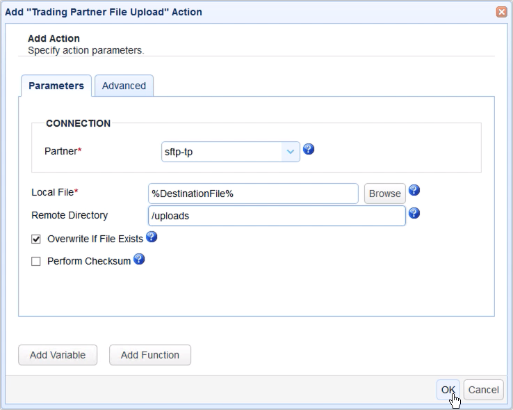 trigger trading partner file upload action parameters