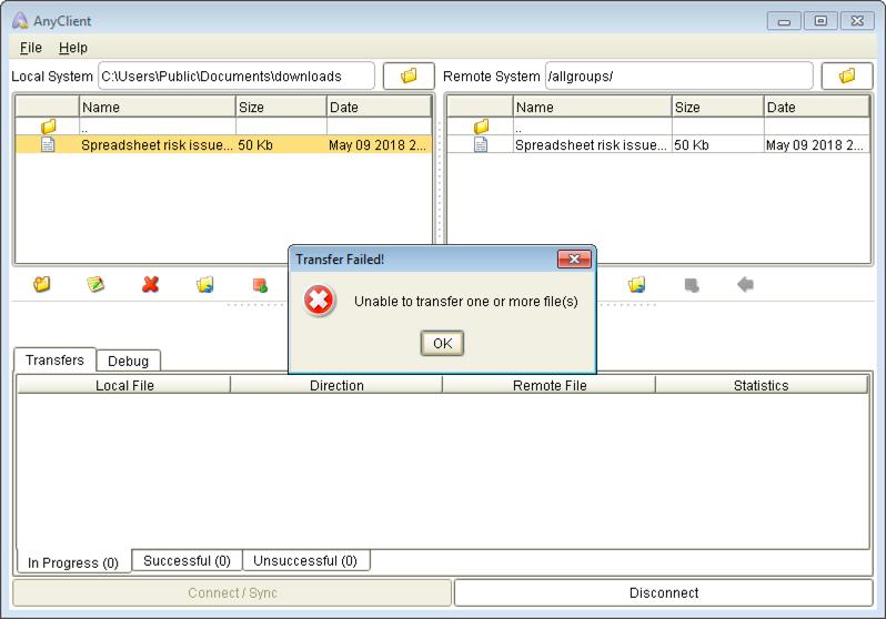 unable to transfer doug mft server