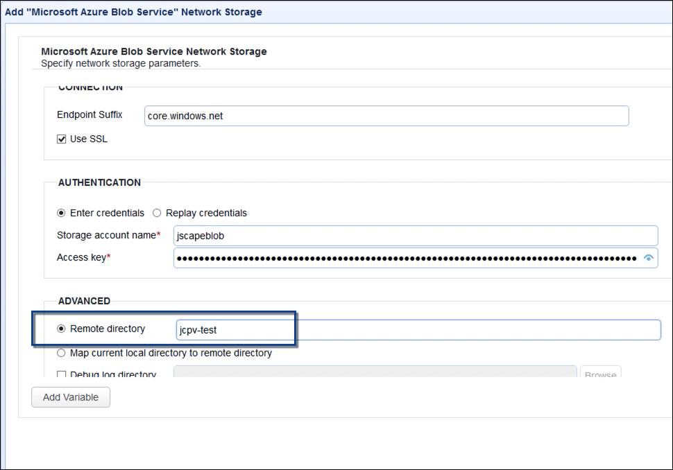 upload files to azure blog storage via ftp - remote directory