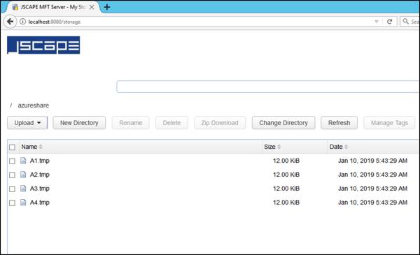 uploaded files in azure file share in web file transfer