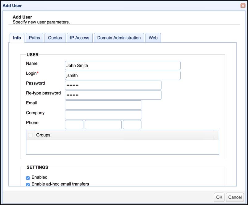 user parameters mft server