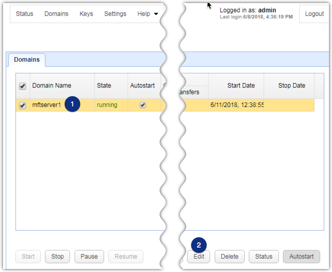 web file transfer domain edit