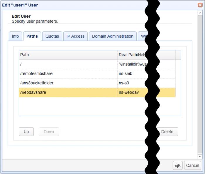 webdav network storage new virtual path