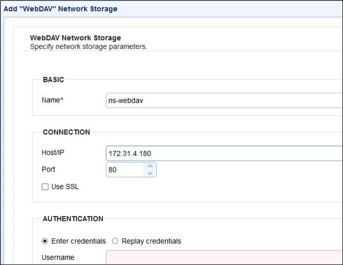webdav network storage parameters name